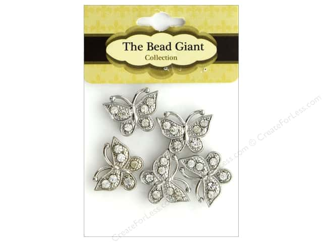 The Bead Giant Bead Spacer Butterfly Silver 5pc