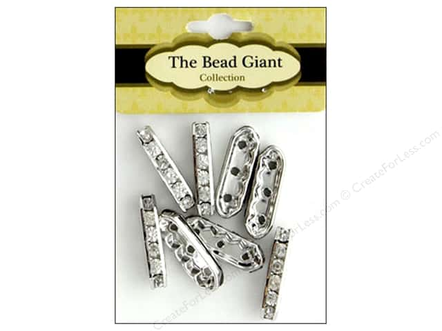 The Bead Giant Bead Spacer 3 Hole Silver 8pc