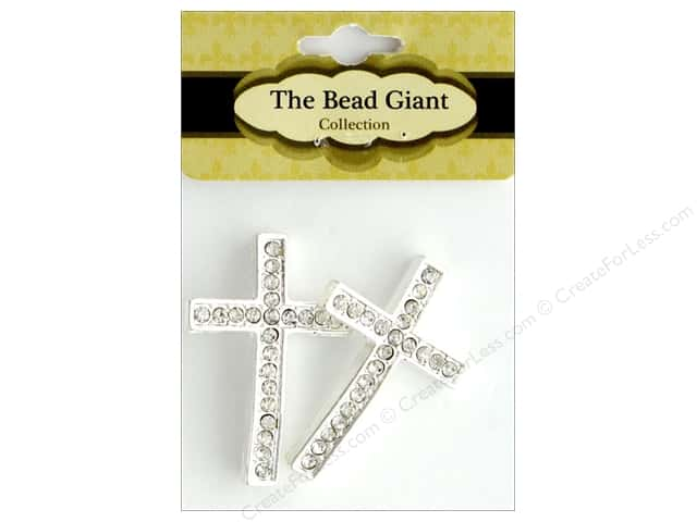 The Bead Giant Bead Rhinestone Cross Thin Silver 2pc