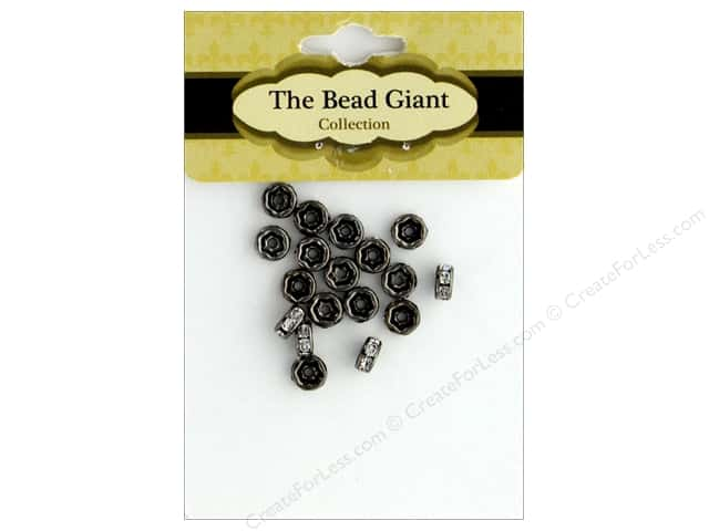 The Bead Giant Bead Disc Rhinestone 7mm Black/Crystal 18pc