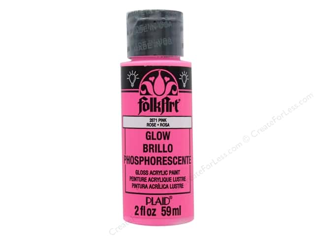 Plaid FolkArt Acrylic Paint 2 oz. #2871 Glow in the Dark Pink