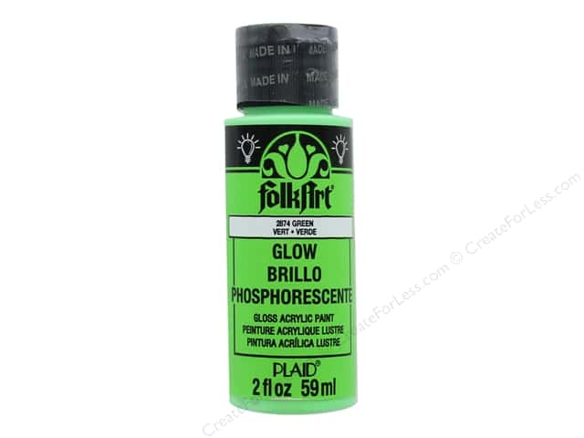 Plaid FolkArt Acrylic Paint 2 oz. #2874 Glow in the Dark Green
