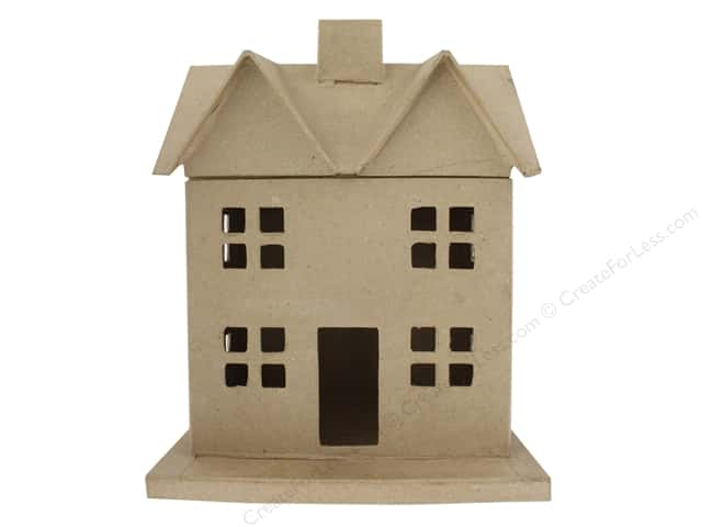 "PA Paper Mache Box House 9""x 11.5""x 7.5"" Kraft"