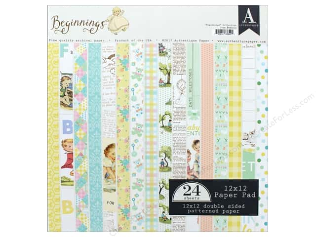"Authentique Collection Beginnings Paper Pad 12""x 12"""