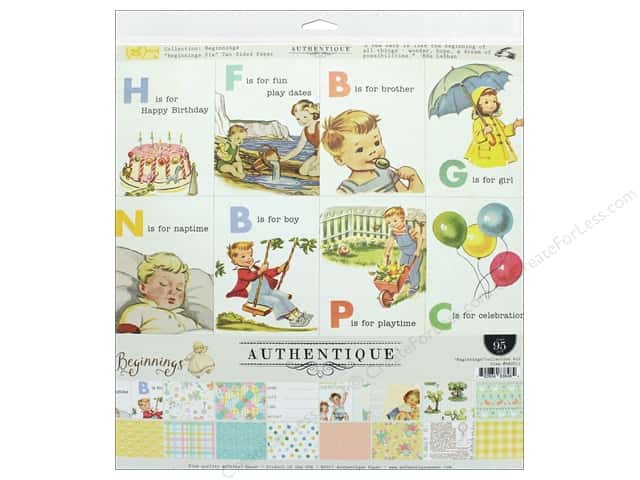 "Authentique Collection Beginnings Collection Kit 12""x 12"""