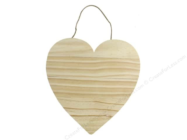 Sierra Pacific Crafts Wood Plaque Heart With Jute Hanger 11.75 in. Natural