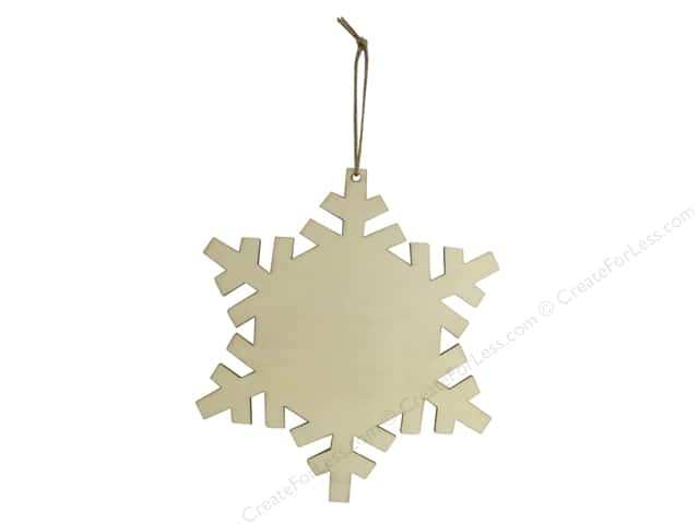 Sierra Pacific Crafts Wood Ornament Snowflake With Hanger 8 in. Natural