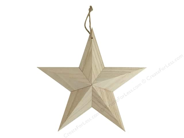 Sierra Pacific Crafts Wood Ornament Large Star With Hanger 9.75 in.  Natural