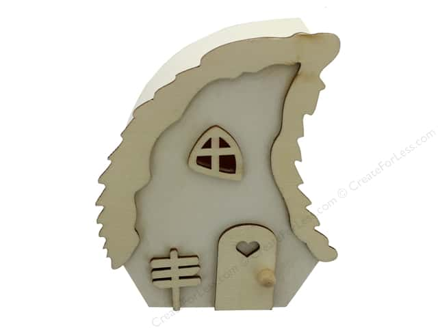 Sierra Pacific Crafts Wood Statuette House With Wave Roof 4 in. Natural