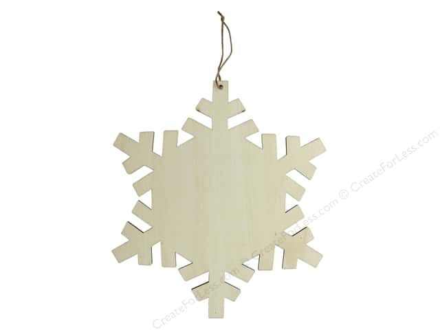 Sierra Pacific Crafts Wood Ornament Snowflake With Hanger 11 in.  Natural