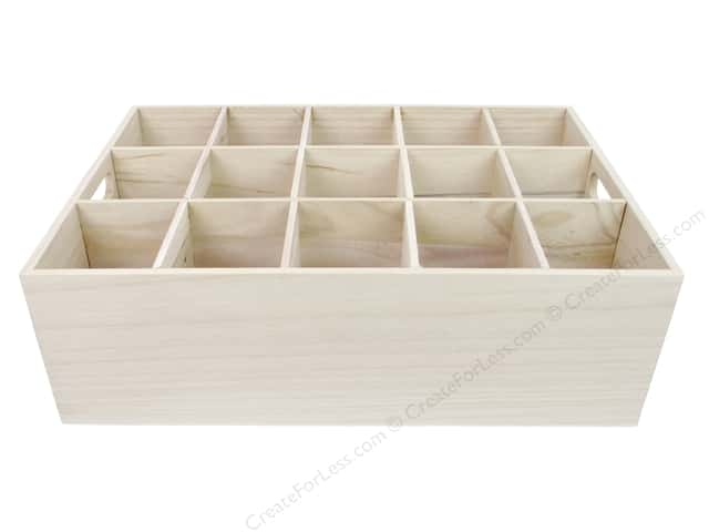 Sierra Pacific Crafts Wood Box 15 Holes With Handles 16.75 in. Natural
