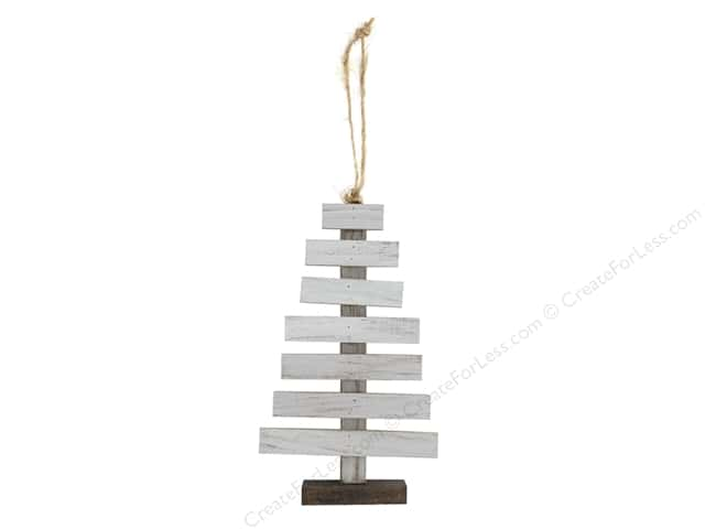Sierra Pacific Crafts Wood Ornament Slat Tree 6 in. White