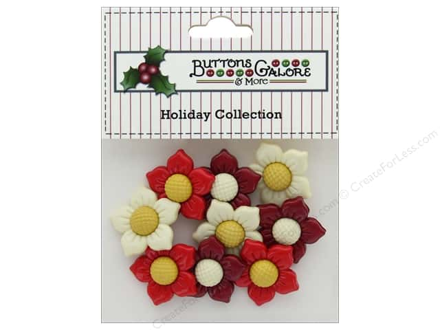 Buttons Galore Theme Button Holiday Poinsettias