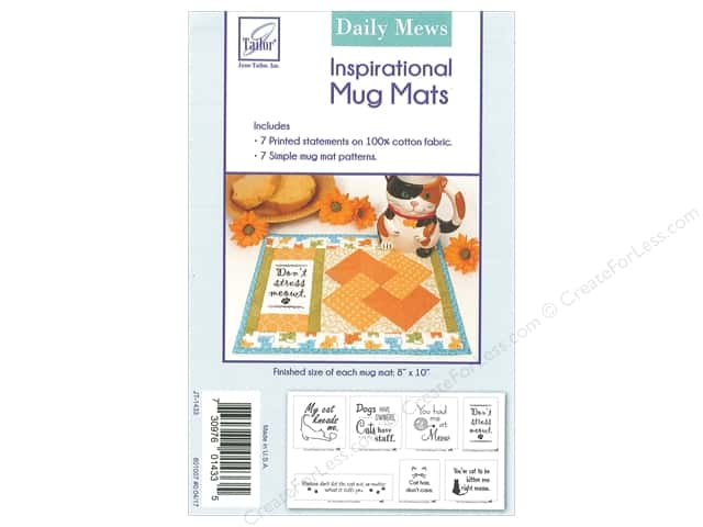 June Tailor Kit Inspirational Mug Mat Cotton Panel Daily Mews
