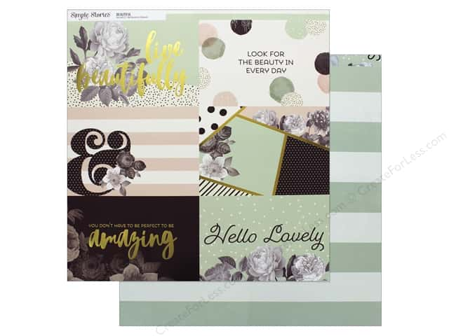 """Simple Stories Collection Beautiful Paper 12""""x 12"""" Horizontal Elements 4""""x 4"""""""