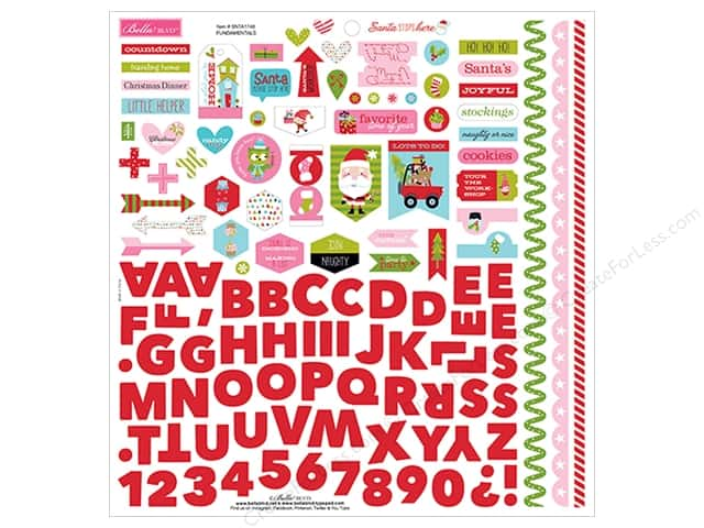 "Bella Blvd Santa Stops Here Sticker 12""x 12"" Fundamentals (12 pieces)"
