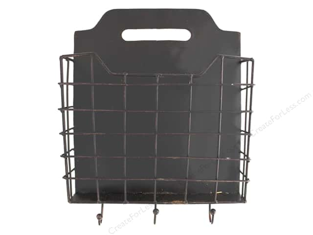 Sierra Pacific Crafts Decor Wall Organizer Wire Mesh With Hooks 14 in. Black
