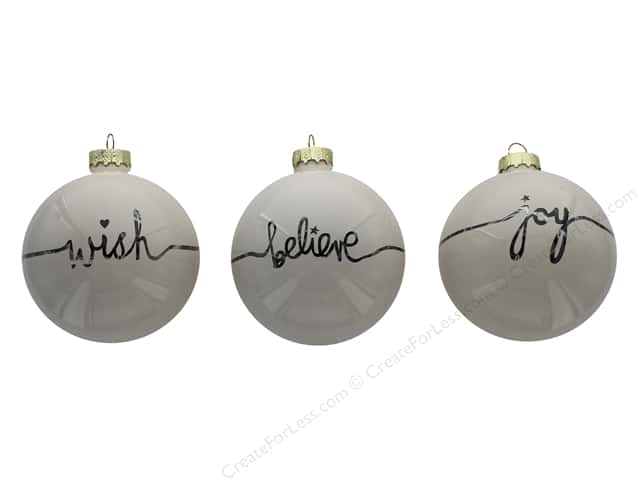 Sierra Pacific Crafts Decor Glass Ornament Balls Joy, Wish, Believe White 6 pc