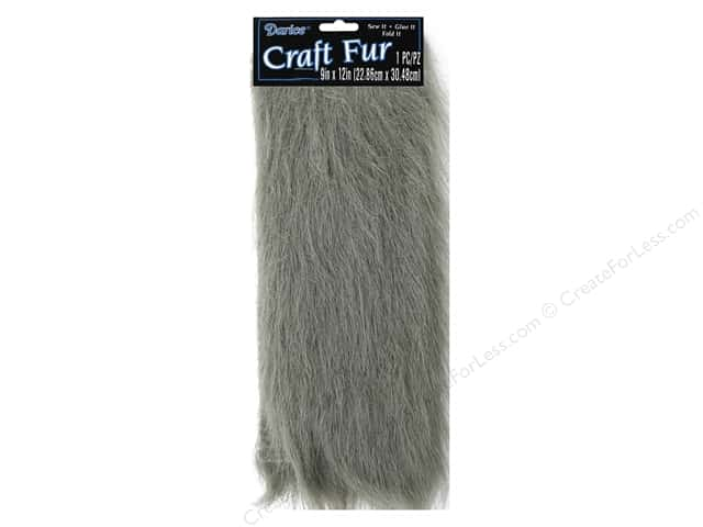 Darice Craft Fur 9 in. x 12 in.  Long Pile Grey