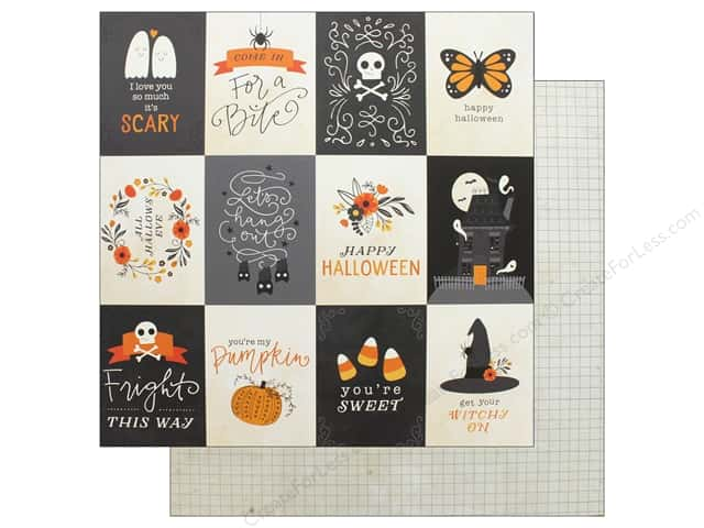 "Pebbles Collection Midnight Haunting Paper 12""x 12"" Midnight Sentiments (25 pieces)"