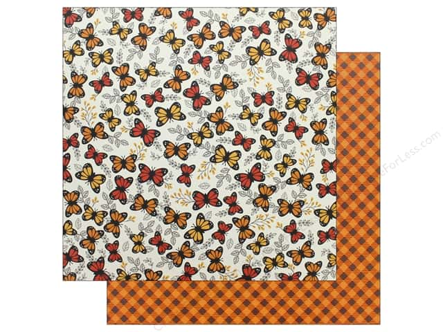 """Pebbles Collection Midnight Haunting Paper 12""""x 12"""" Pumpkin Plaid (25 pieces)"""