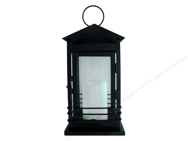 Darice Light Lantern Metal LED Candle Black 12.5 in.