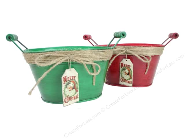 Darice Decor Metal Planter With Handle Merry Christmas Assorted