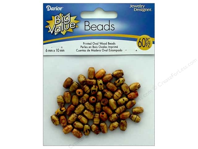 Darice Wood Beads 6 x 10 mm Oval 60 pc. Printed