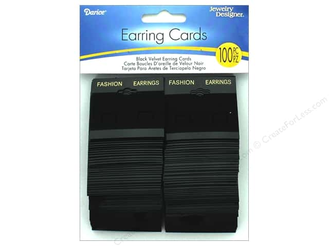 Darice Jewelry Designer Earring Card with Velvet Back Black 100 pc