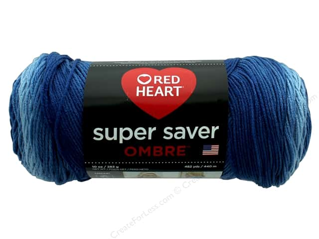 Red Heart Super Saver Ombre Yarn 482 yd. #3962 True Blue