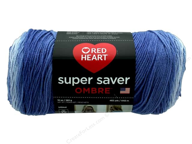 Red Heart Super Saver Ombre Yarn 482 yd. #3963 Baja Blue
