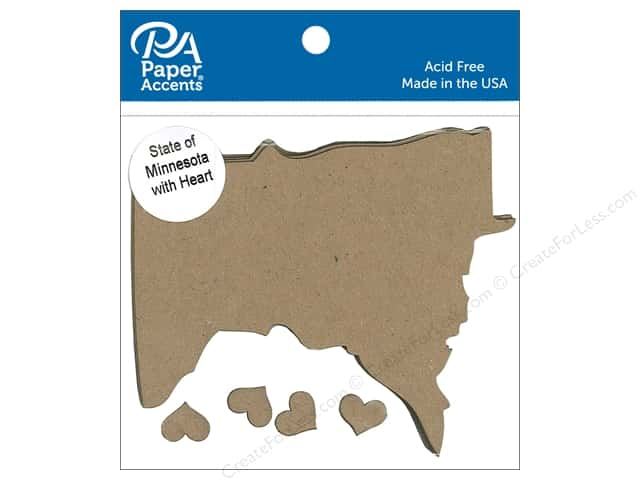 Paper Accents Chipboard Shape State of Minnesota Silhouette 4 pc. Natural
