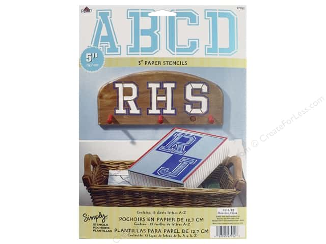 Plaid Stencil Simply Paper Alphabet Collegiate 5""