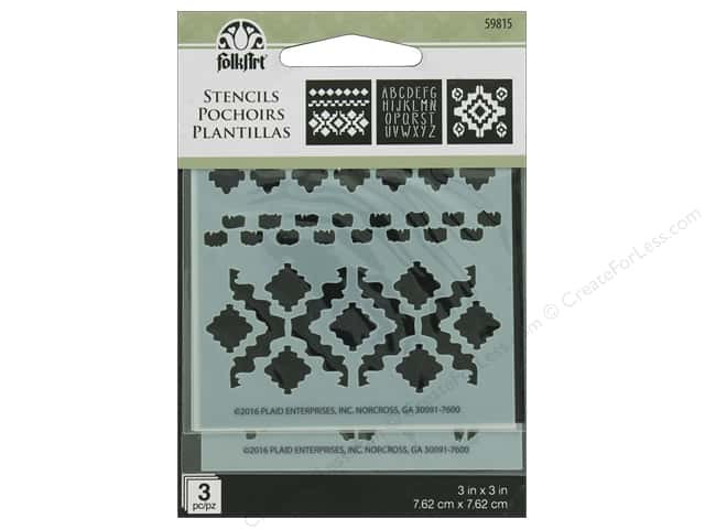 "Plaid Stencil Folkart 3""x 3"" Tribal 3pc"