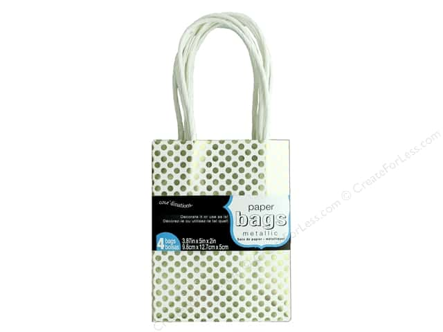 "Coredinations Paper Bags 3.87""x 5""x 2"" Metallic White 4pc"