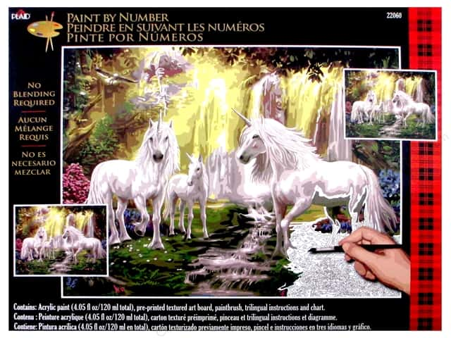 "Plaid Paint By Number 16""x 20"" Waterfall Glade Unicorn"