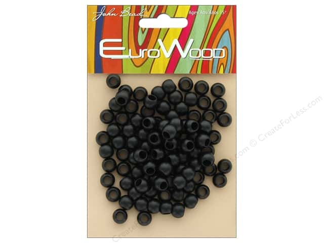 John Bead Wood Bead Round Large Hole 8mm x 6.5mm Black