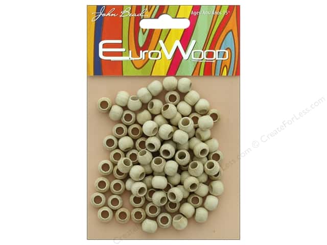 John Bead Wood Bead Round Large Hole 8mm x 6.5mm Natural