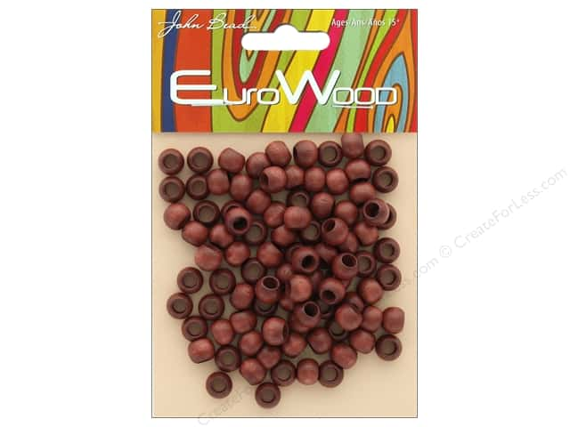John Bead Wood Bead Round Large Hole 8mm x 6.5mm Mahogany