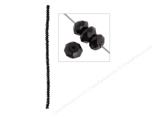 John Bead Semi Precious Bead 8 in. Onyx 6 mm Faceted Rondelle Black