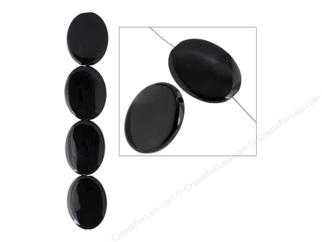 John Bead Semi Precious Bead 8 in. Onyx 30 mm x 40 mm Oval Black