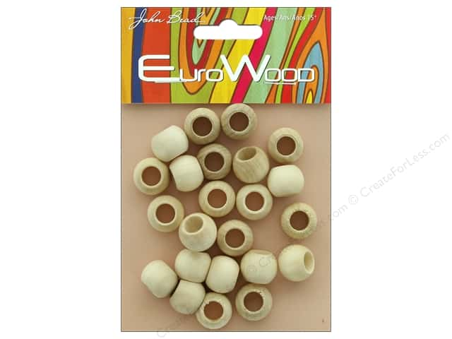 John Bead Wood Bead Round Large Hole 14mm x 11mm Natural
