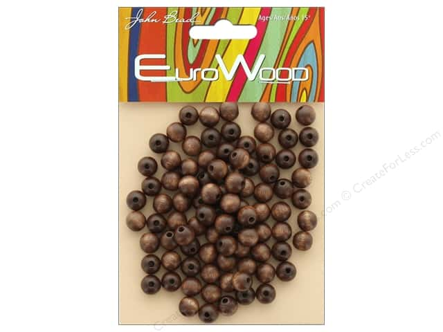 John Bead Wood Bead Round 8mm Dark Brown