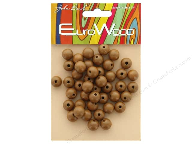 John Bead Wood Bead Round 10mm Coffee