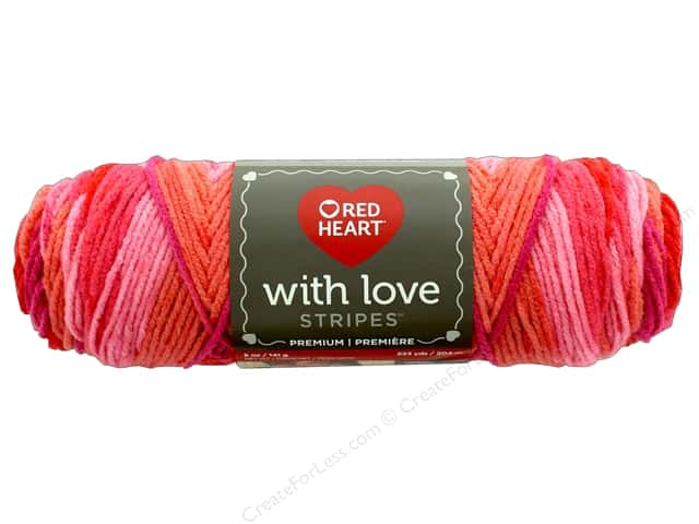 Red Heart With Love Yarn 223 yd. #1976 Passion Stripe