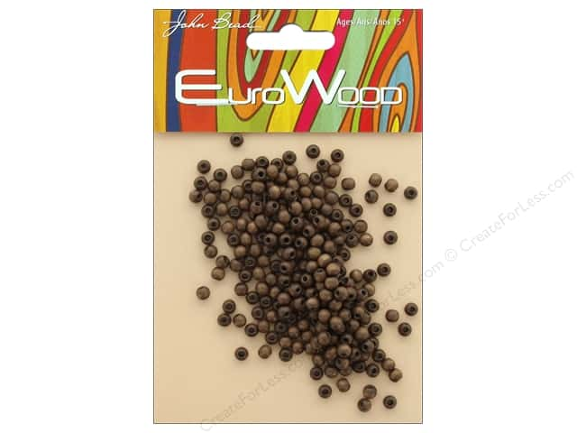 John Bead Wood Bead Round 4mm Dark Brown
