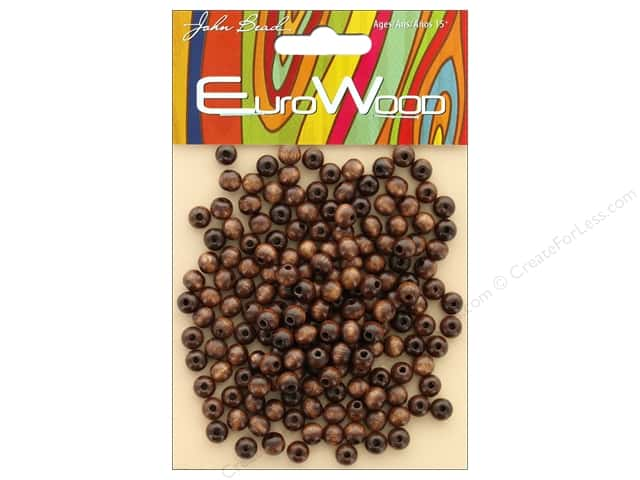 John Bead Wood Bead Round 6mm Dark Brown