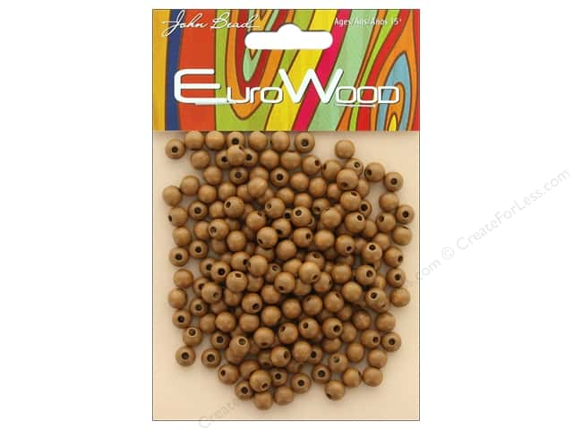 John Bead Wood Bead Round 6mm Coffee