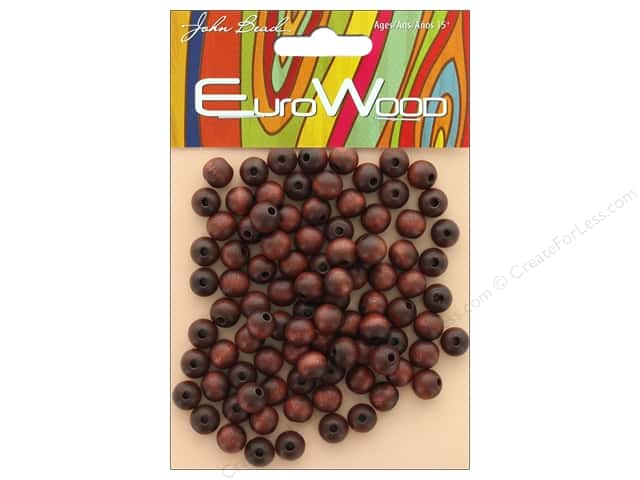 John Bead Wood Bead Round 8mm Mahogany