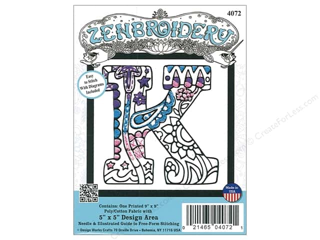 "Design Works Zenbroidery Fabric 5""x 5"" Letter K"
